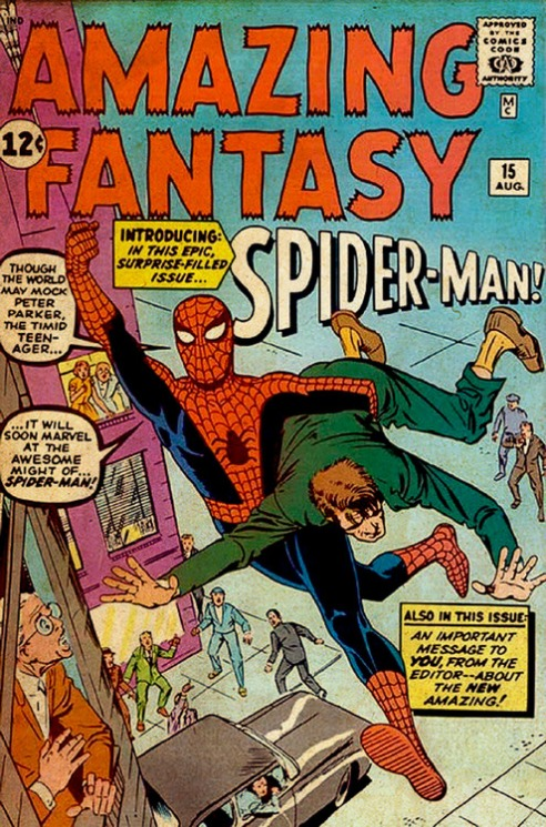 "Steve Ditko's original cover art for ""Amazing Fantasy"" #15."