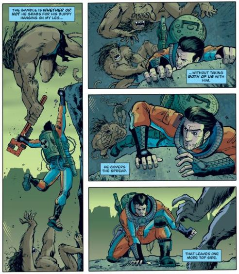 Remender knows how to write an action scene and Moore know how to draw one.