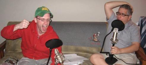 This is my co-host Jerry and I recording an early episode with the utmost exuberance!
