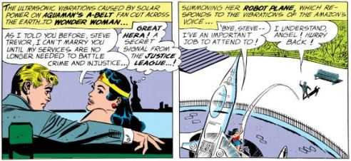 Steve Trevor's sweet nothings are interrupted by a JLA distress call.