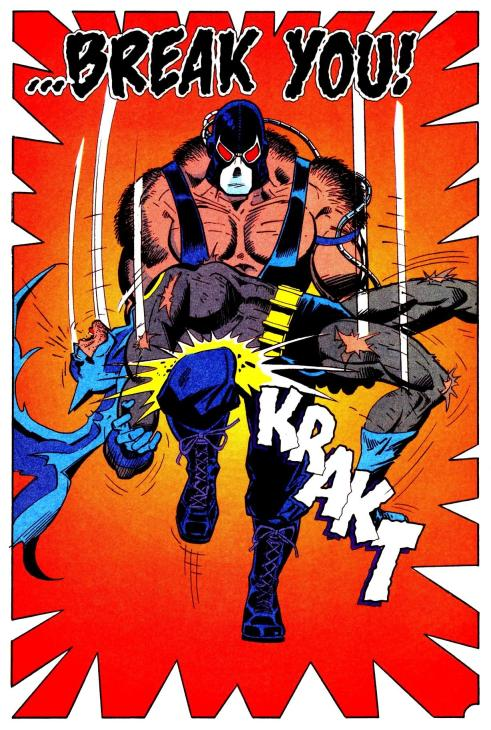 "Batman is crippled by Bane during the ""Knightfall"" saga. Art by Graham Nolan."