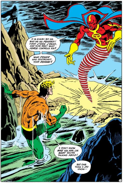 Aquaman vs. Red Tornado by Aparo.