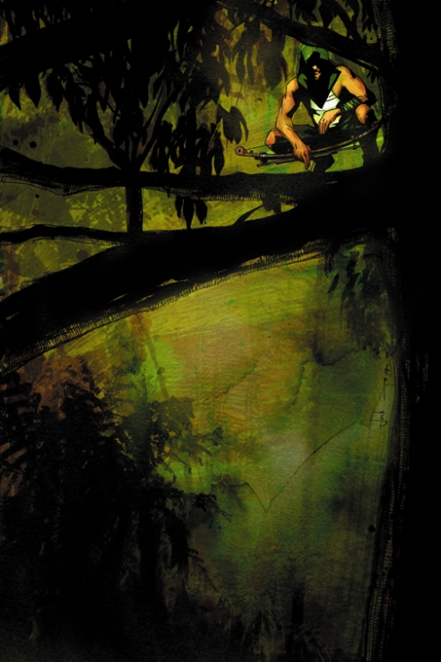 "Cover of the second issue of ""Green Arrow: Year One""."