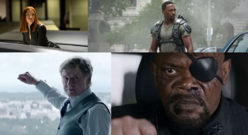 Clockwise from top left: Scarlet Johannson as Black Widow, Anthony Mackie as Falcon, Samuel L. Jackson as Nick Fury, and Robert Redford as Alexander Pierce.