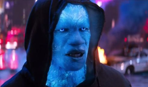 Foxx is virtually unrecognizable as the monstrous villain, Electro.