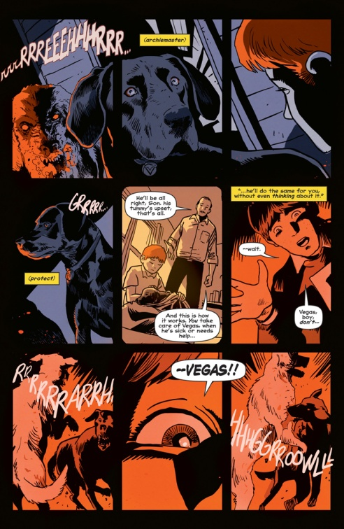 Archie's dog protects his master in this heart-wrenching scene by Aguirre-Sacasa and Francavilla.