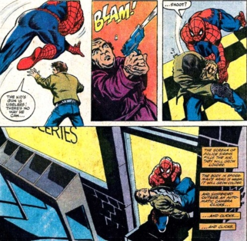 Spider-Man finds himself in the middle of a handgun tragedy.