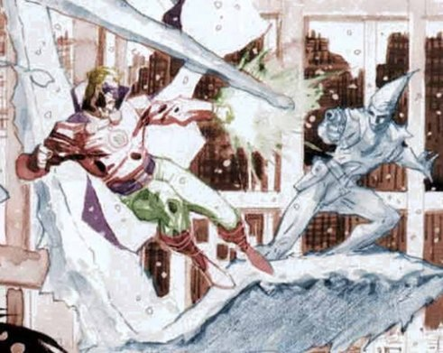 "The ""Alan Scott"" Green Lantern and Icicle duke it out over Metropolis in a gorgeous flashback."