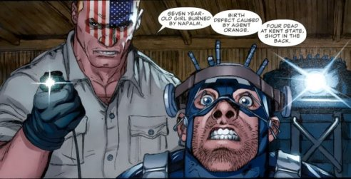 Cap is given a history lesson.