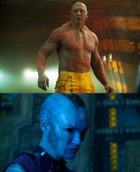 Top: Drax's (Bautista) tribal tattoos give the character a greater commanding presence. Bottom: The symmetrical lines across Nebula's (Gillan) face create a frightening expression.