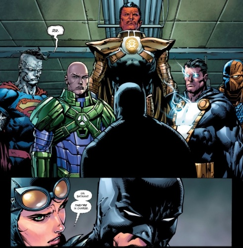 "Batman has to relinquish authority to the Luthor so that that they may retake the planet from the Crime Syndicate in ""Forever Evil""."